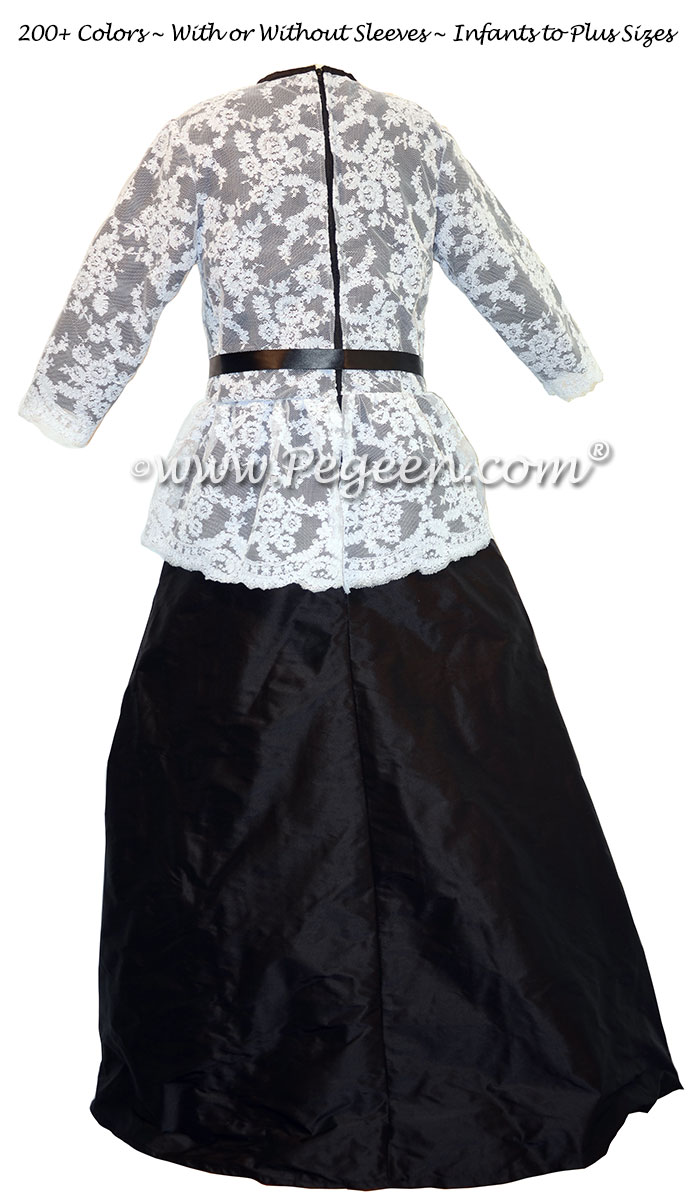 Black and White Aloncon Lace Jr. Bridesmaids with High Neck and Long Sleeves | Pegeen