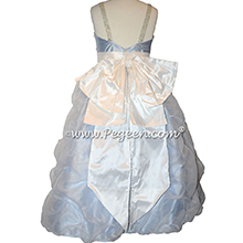 Custom silk ice blue flower girl dresses Style 490 with pearls