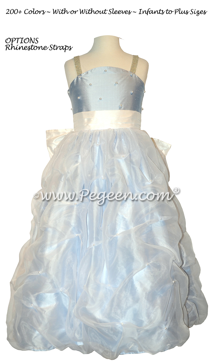 Antique White and Ice Blue flower girl dress Style 409