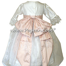 White and Pink Embroidered Silk flower girl dresses