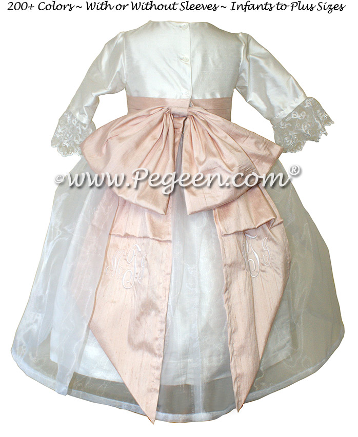 Antique White and Ballet Pink Silk Flower Girl Dresses Style 694