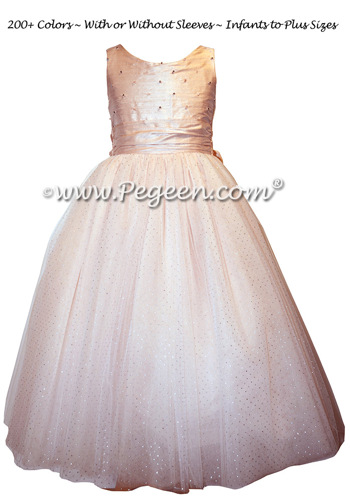 Swarovski Crystals and Pink Tulle and silk couture flower girl dresses - Flower Girl Dress Style 695 - Princess Caroline Regal Collection