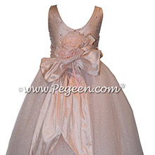 Swarovski Crystals and Glitter Tulle Silk Couture flower girl dresses - Style 695