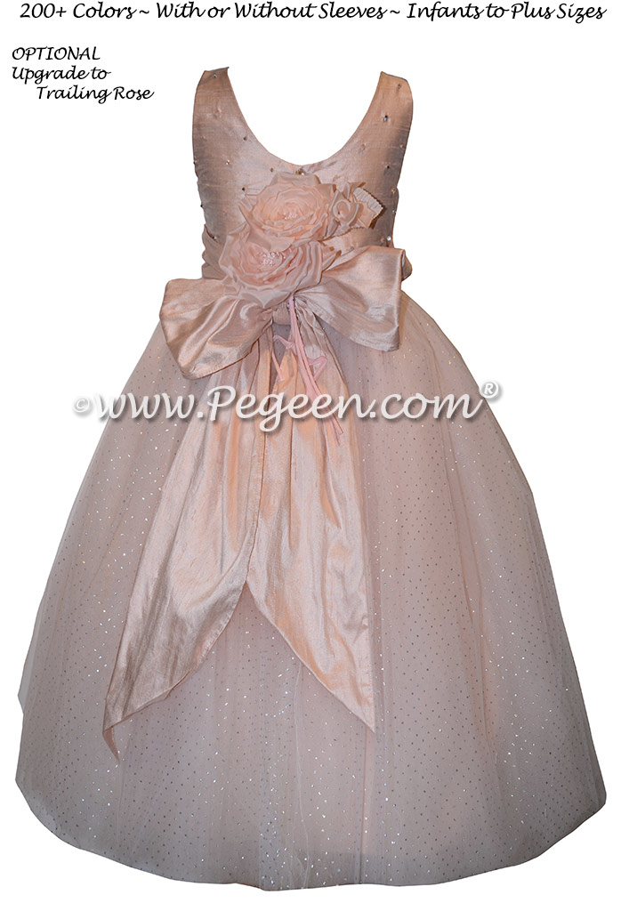 Couture flower girl dress with Swarovski Crystals and Glitter Tulle| Pegeen