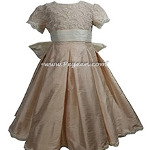 Style 698 Ballet Pink and aloncon lace silk flower girl dress