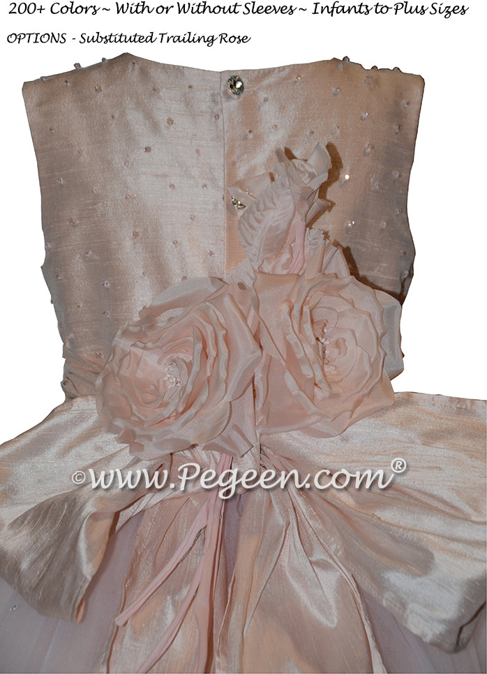 Swarovski Encrusted Bodice in Ballet Pink Silk Flower Girl Dresses