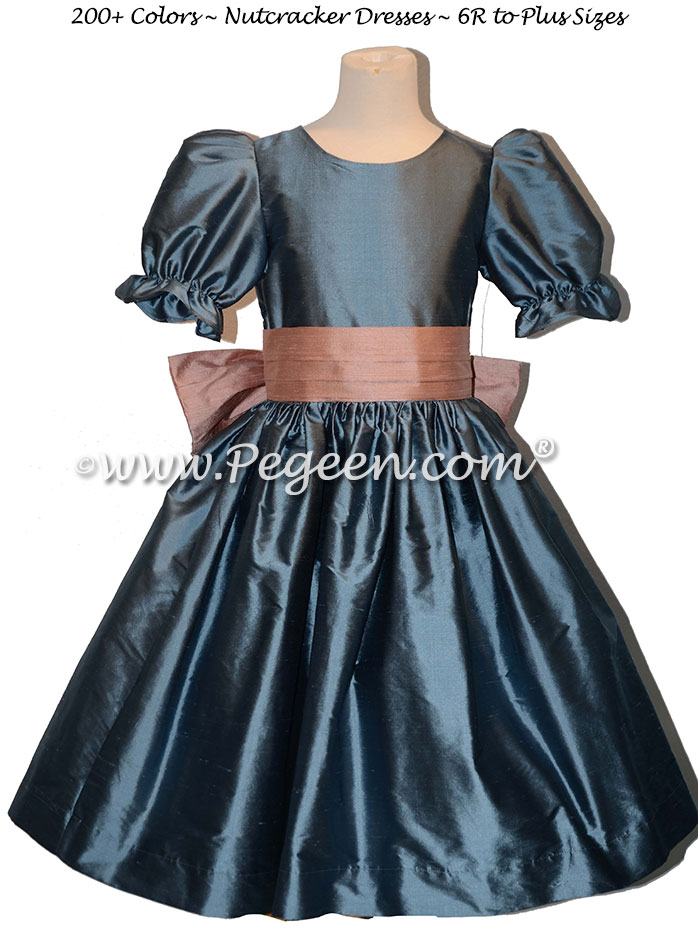 Arial Blue and Wood Rose Pink nutcracker, Clara or Christmas Holiday Flower Girl Dresses