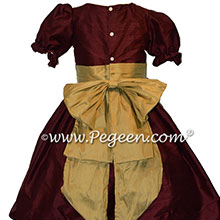 Burgundy and Harvest Gold Custom Silk Nutcracker Costume or Dress | Pegeen