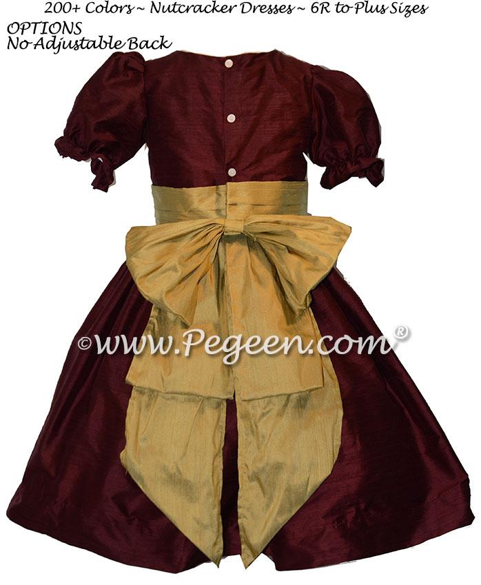 Burgundy and Harvest Gold nutcracker, Clara or Christmas Holiday Flower Girl Dresses