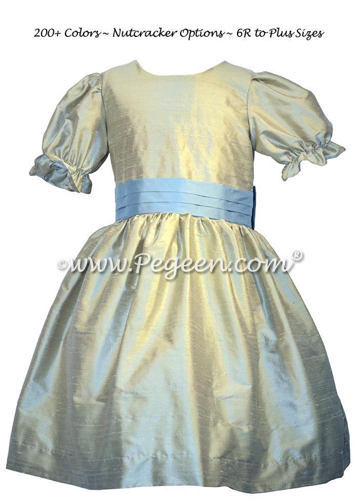 Custom silk celedon green and azuline blue Nutcracker dresses Style 701