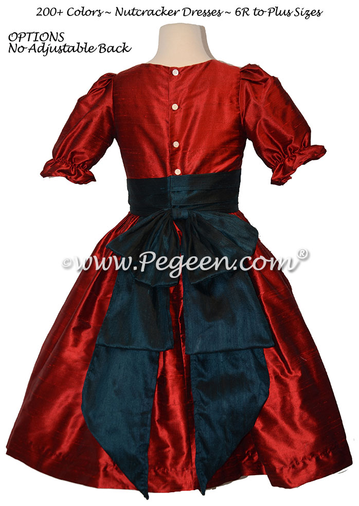 Claret Red and Dark Cyan nutcracker, Clara or Christmas Holiday Flower Girl Dresses