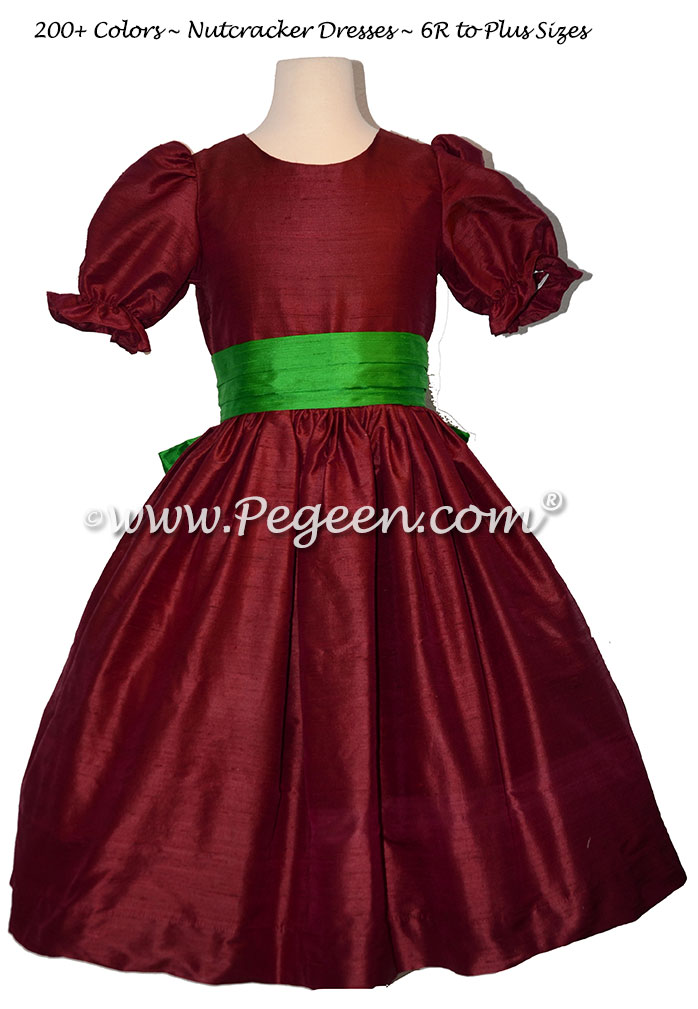 Cranberry and Emerald Green nutcracker, Clara or Christmas Holiday Flower Girl Dresses