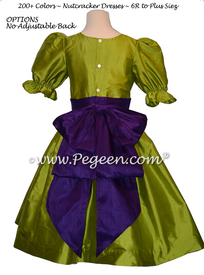 Grass Green and Royal Purple nutcracker, Clara or Christmas Holiday Flower Girl Dresses