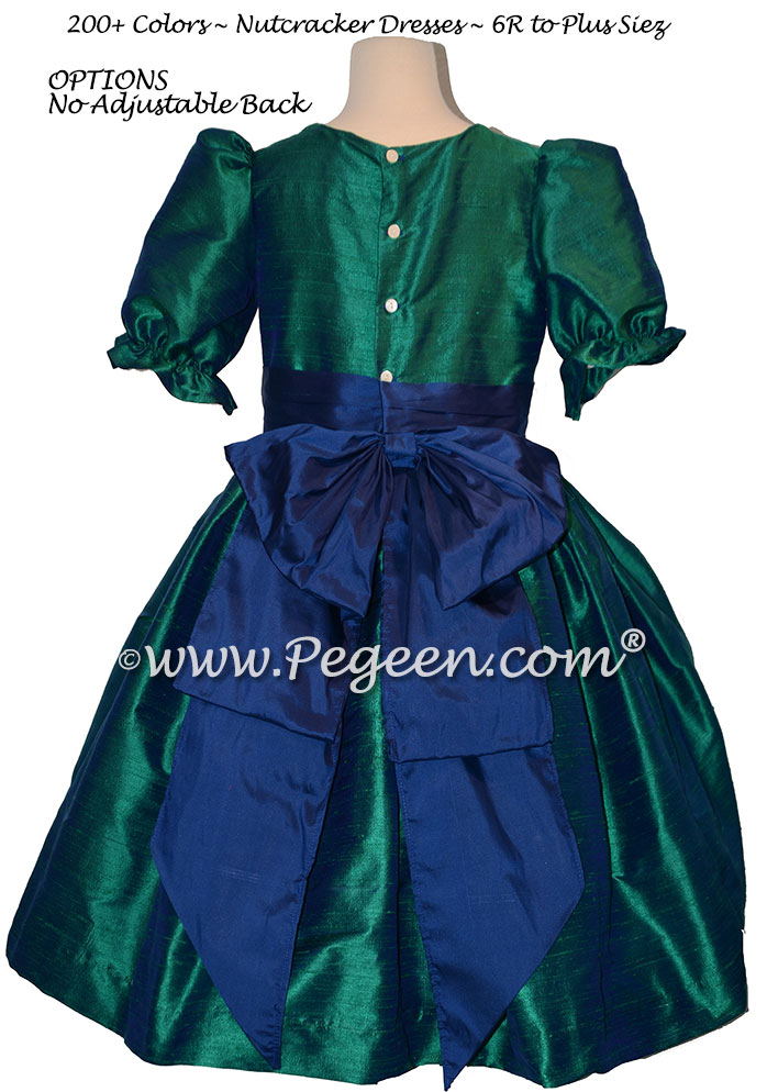 Holiday Green and Colonial Blue nutcracker, Clara or Christmas Holiday Flower Girl Dresses