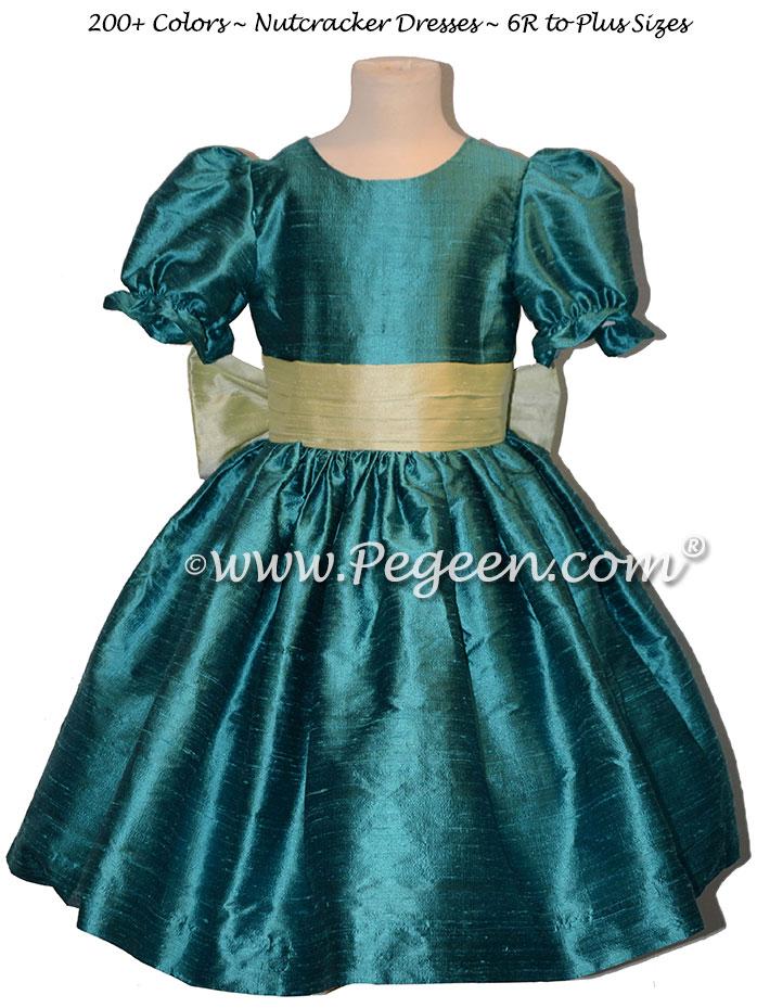 Juniper and Summer Green nutcracker, Clara or Christmas Holiday Flower Girl Dresses