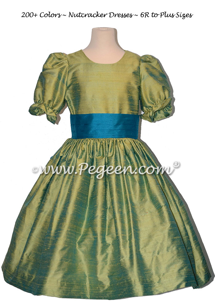 Lime Green and Capris (Turquoise) nutcracker, Clara or Christmas Holiday Flower Girl Dresses