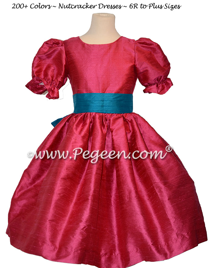 Lipstick Pink and Mosaic Blue nutcracker, Clara or Christmas Holiday Flower Girl Dresses