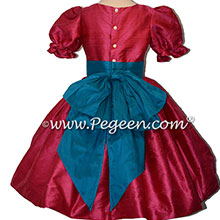 Lipstick Pink and Mosaic Blue nutcracker, Clara or Christmas Holiday Flower Girl Dresses