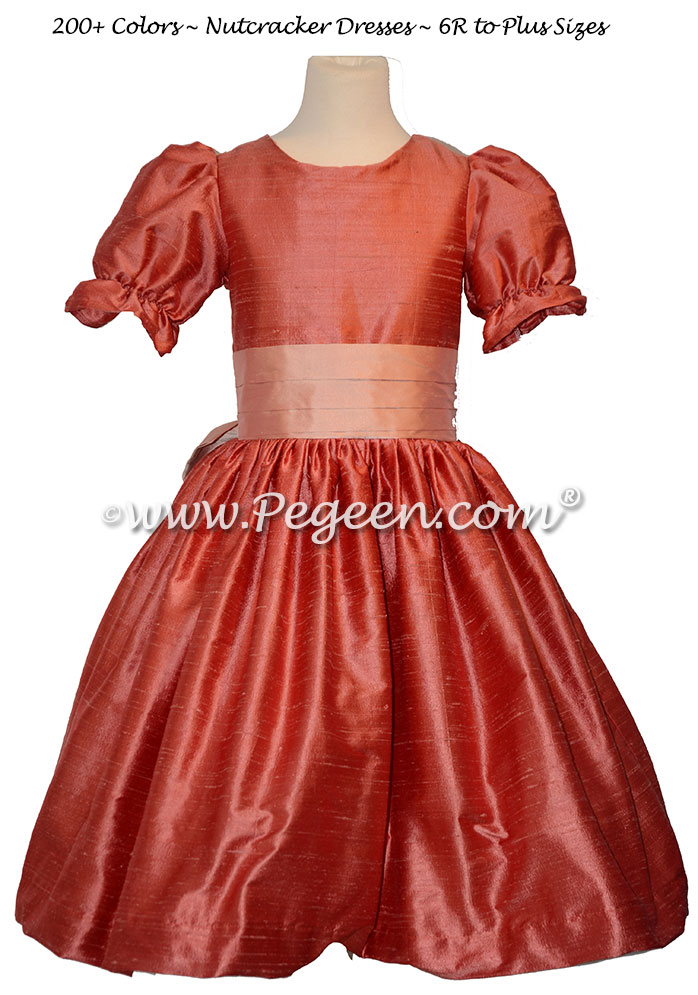 Lotus Pink and Spice nutcracker, Clara or Christmas Holiday Flower Girl Dresses