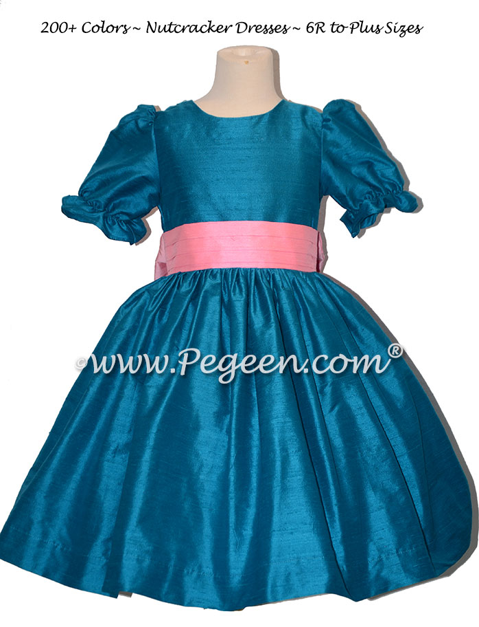 Mosaic Teal and Barbee Pink  nutcracker, Clara or Christmas Holiday Flower Girl Dresses