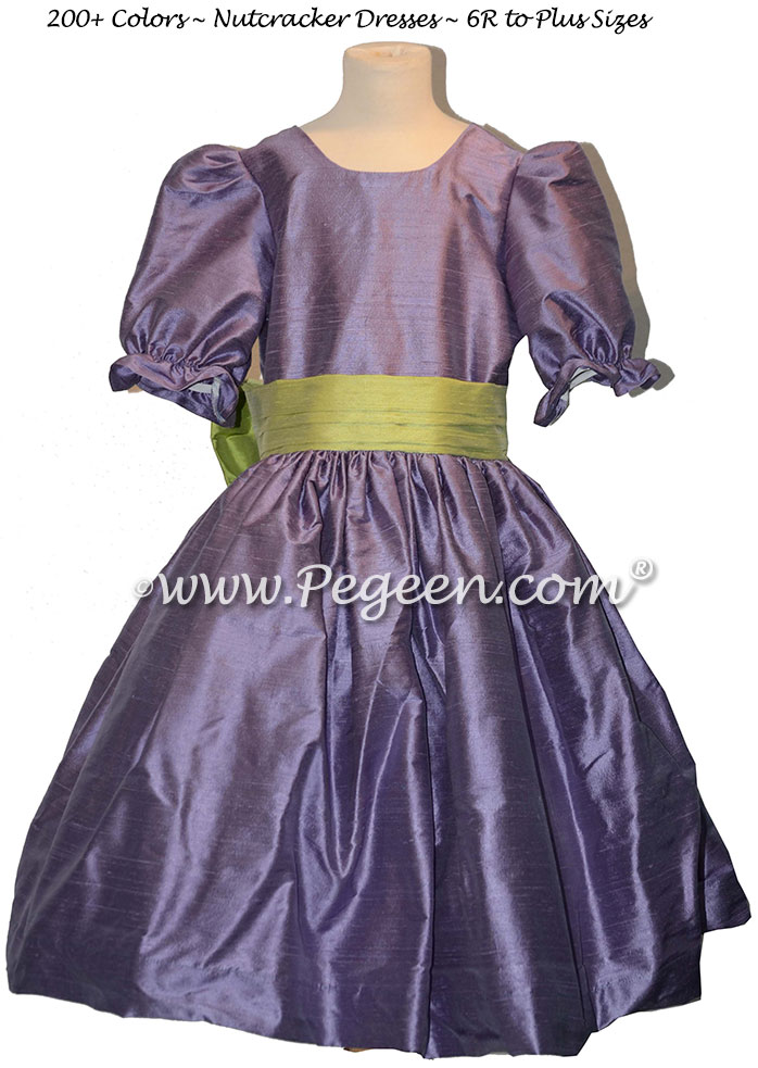 Citrus Green and Periwinkle nutcracker, Clara or Christmas Holiday Flower Girl Dresses