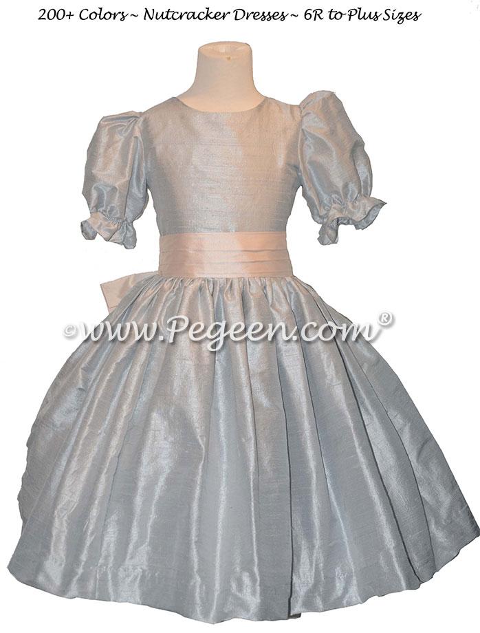 Blush Pink and Platinum Gray nutcracker, Clara or Christmas Holiday Flower Girl Dresses