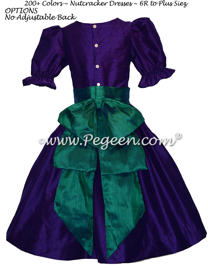 Royal Purple and Holiday Green nutcracker, Clara or Christmas Holiday Flower Girl Dresses