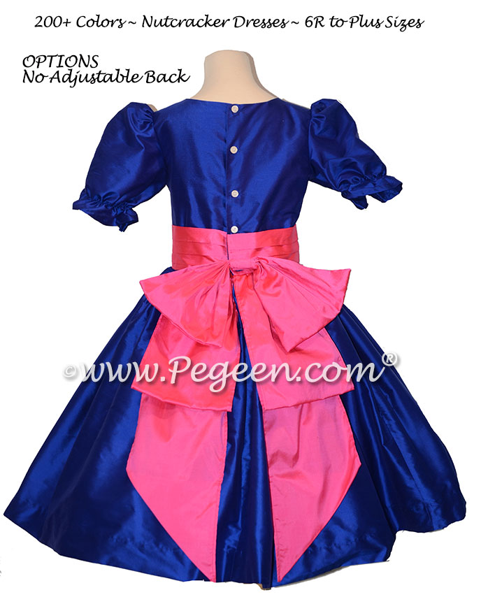 Sapphire Blue and Shock Pink nutcracker, Clara or Christmas Holiday Flower Girl Dresses