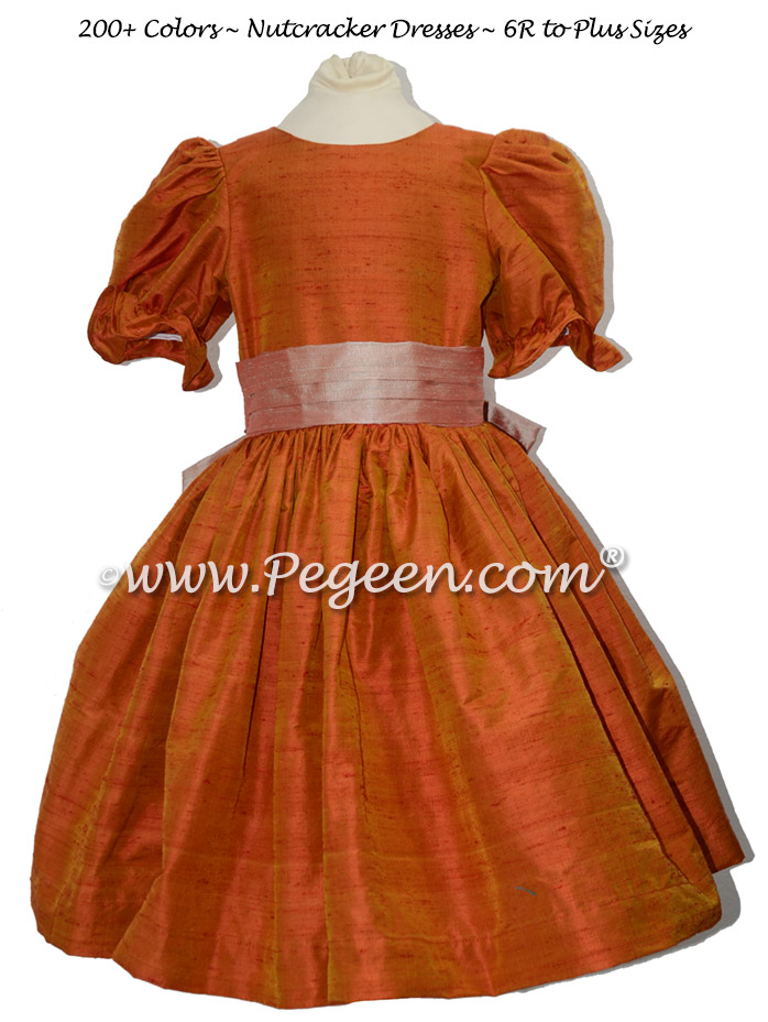 Tangerine and Toffee nutcracker, Clara or Christmas Holiday Flower Girl Dresses
