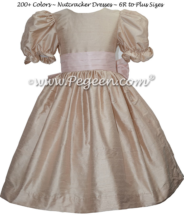Toffee and Blush Pink silk nutcracker dress Style 701