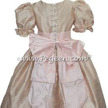 Toffee and Blush Pink silk nutcracker dress