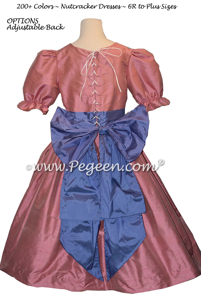 Blueberry and watermelon silk dress used for the Party Scene Dancers in The Nutcracker