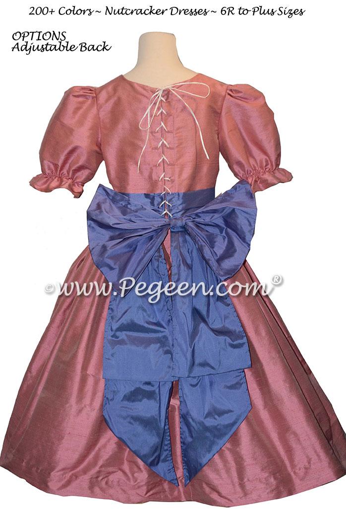 Woodrose Pink and Blueberry nutcracker, Clara or Christmas Holiday Flower Girl Dresses