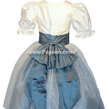 Custom silk ivory and arial blue Nutcracker Party Scene Dress