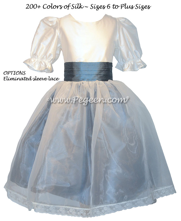 Custom silk ivory and arial blue Nutcracker Party Scene Dress Style 703 by Pegeen