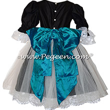 Peacock blue and black silk Nutcracker Clara Dress