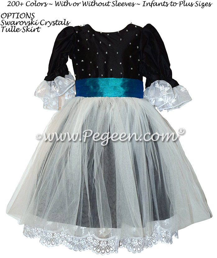 Black and Peacock Blue Indigo Clara Dress for The Nutcracker Ballet Party Scene Dresses - Style 703