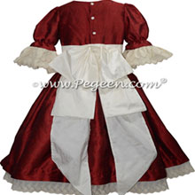 Claret Red and white lace for Clara in Nutcracker Ballet