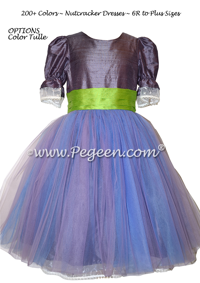 Lilac and Blue Tulle with Eurolilac and Green Silk Nutcracker Party Scene Dress Style 703 by Pegeen