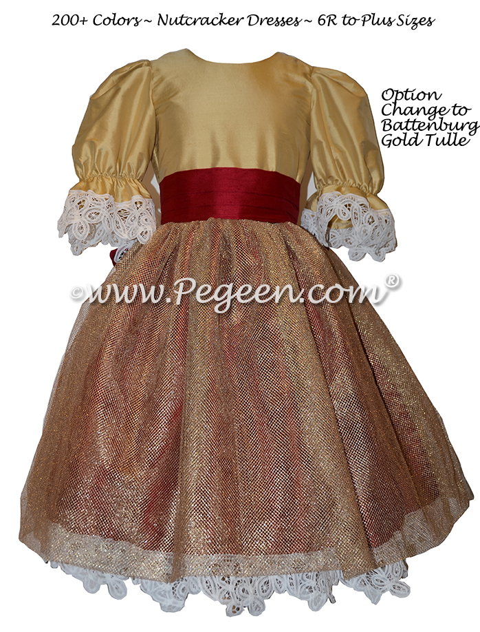 Cranberry and Gold Tulle and Silk Nutcracker Party Scene Dresses