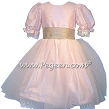 Custom silk Petal Pink and Antigua Taupe Nutcracker Party Scene Dress