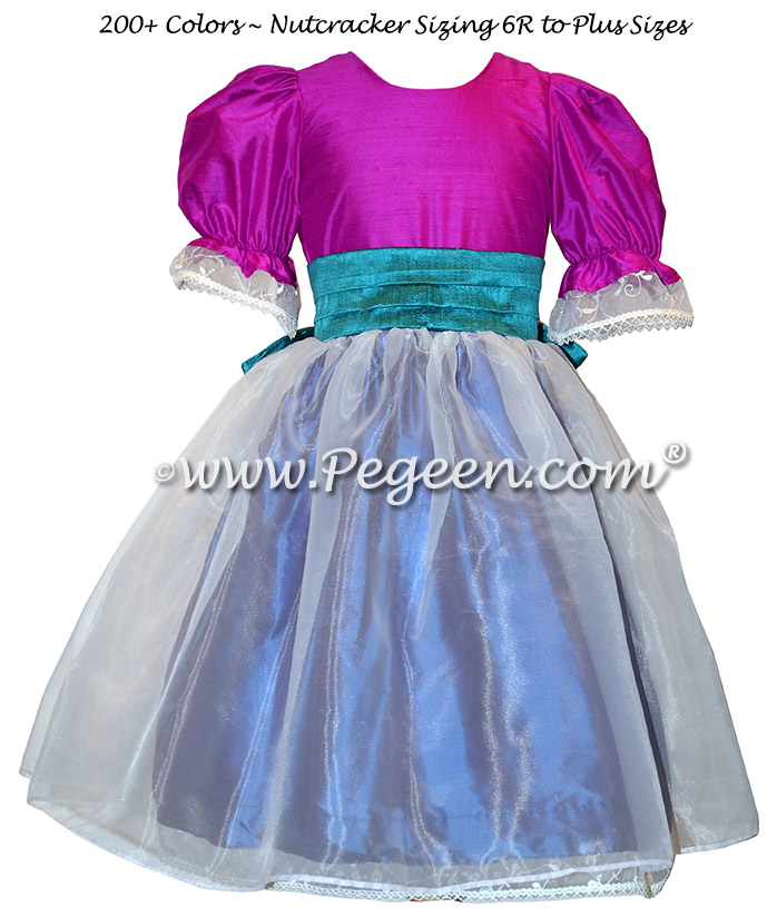 Hawaii Blue, Fuchsia and Razzleberry Nutcracker Ballet Party Scene Dresses