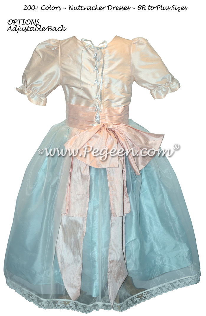 Custom silk Ivory, Spa Blue and Pink Nutcracker Party Scene Dress Style 703 by Pegeen