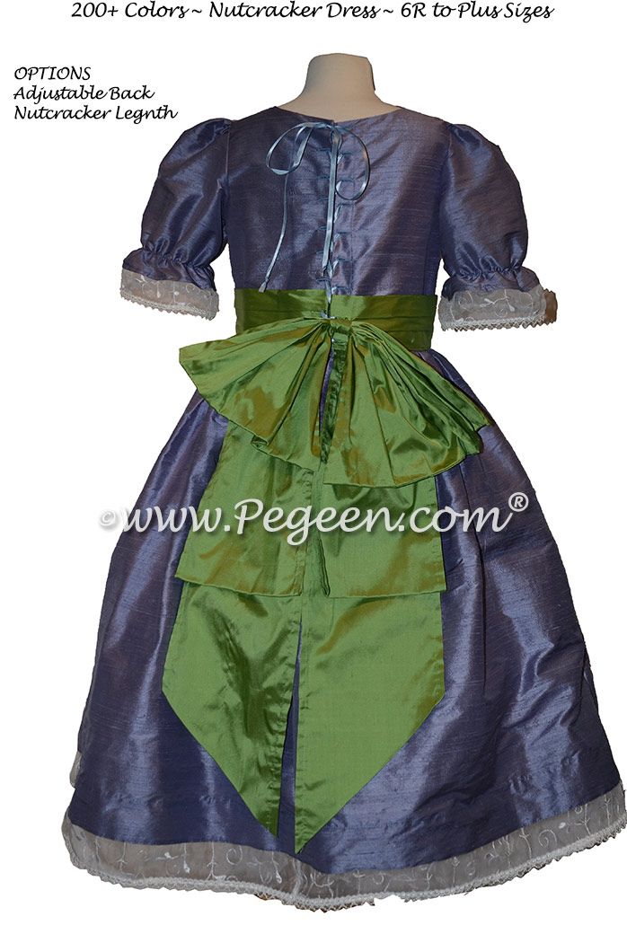 Nutcracker Party Scene Dress in Periwinkle and Vine Green - Style 703