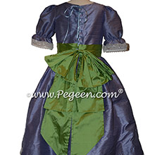 Nutcracker Party Scene Dress in Periwinkle and Vine Green