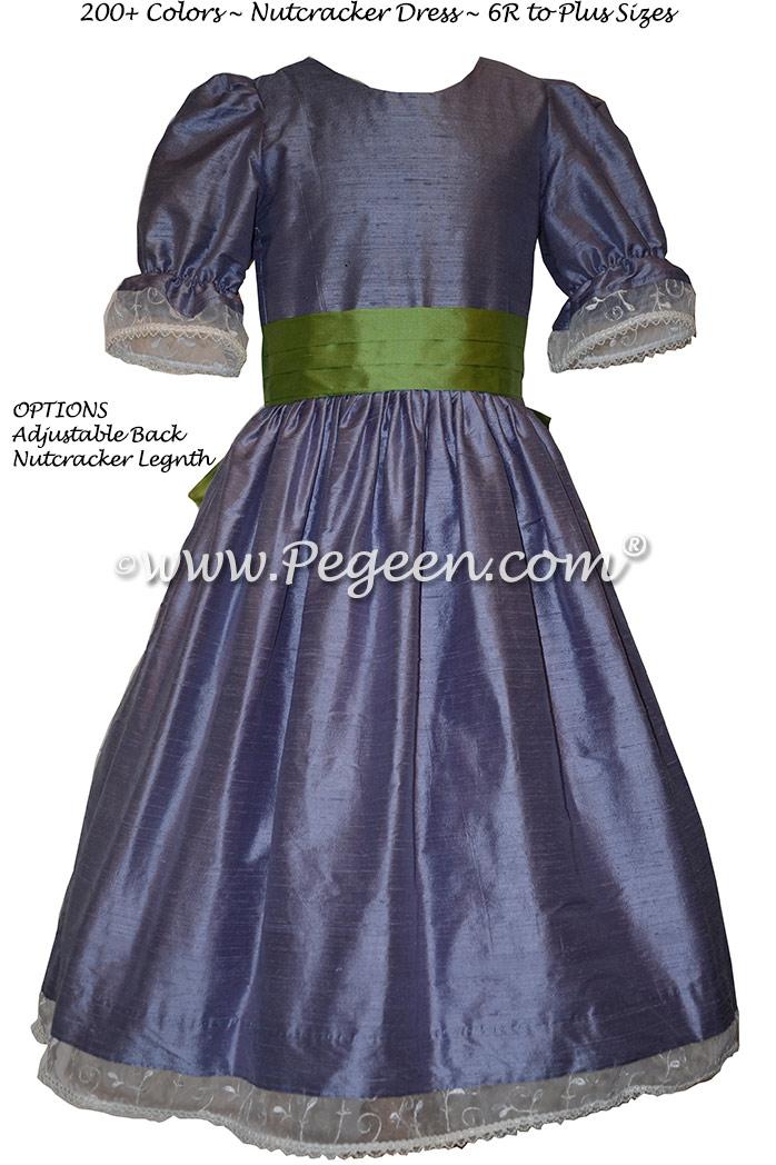 Nutcracker Party Scene Dress in Periwinkle and Vine Green - Style 703 | Pegeen