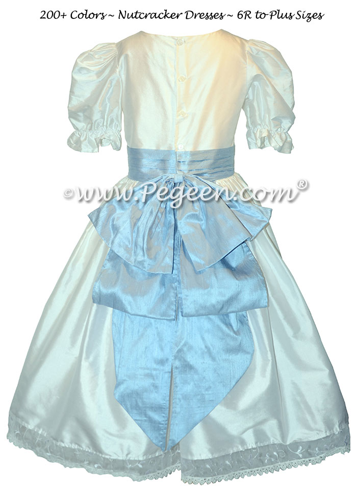 Nutcracker Party Dress -  Clara Dress in Antique White and Cloud Blue Style 703