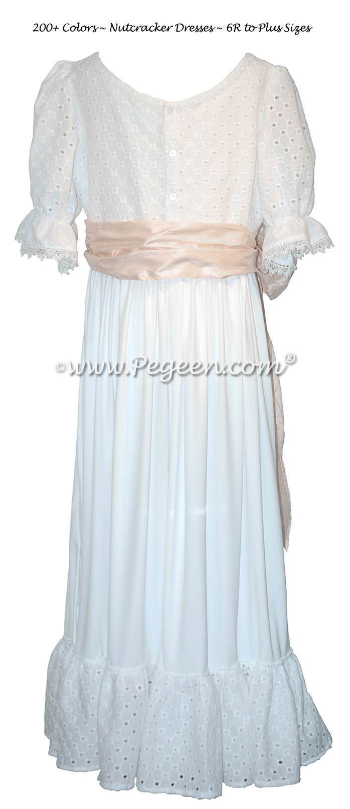 White Cotton Embroidery Nightgown for The Nutcracker