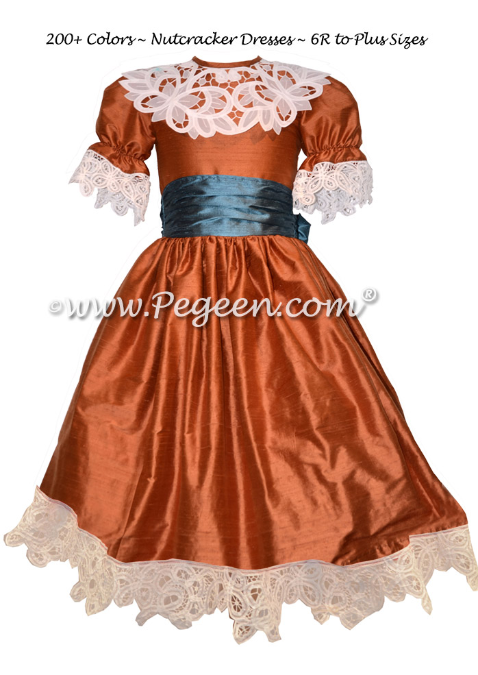 Autumn (rust) and Blue Spruce Silk Nutcracker Party Scene Dress Style 708 by Pegeen