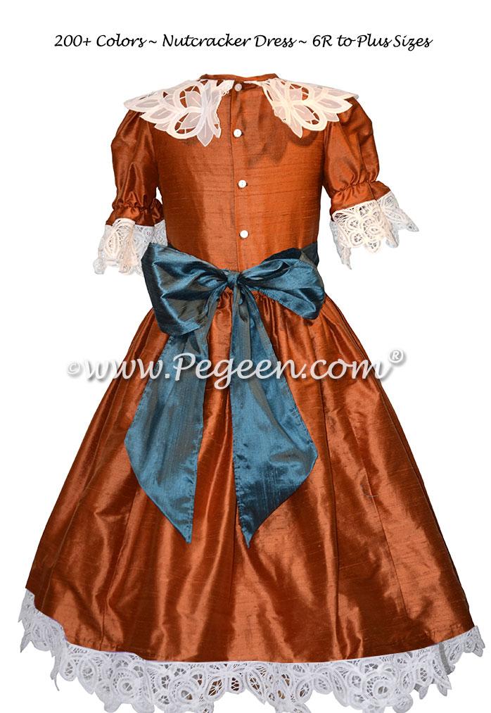 Pumpkin orange and juniper blue Clara or Party Scene Costume for Nutcracker Ballet